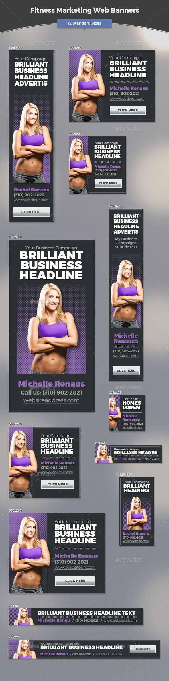 Fitness Marketing Web Banners - Banners & Ads Web Elements