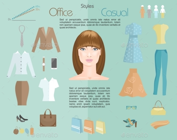 Woman Clothing Styles. Infographics - Concepts Business