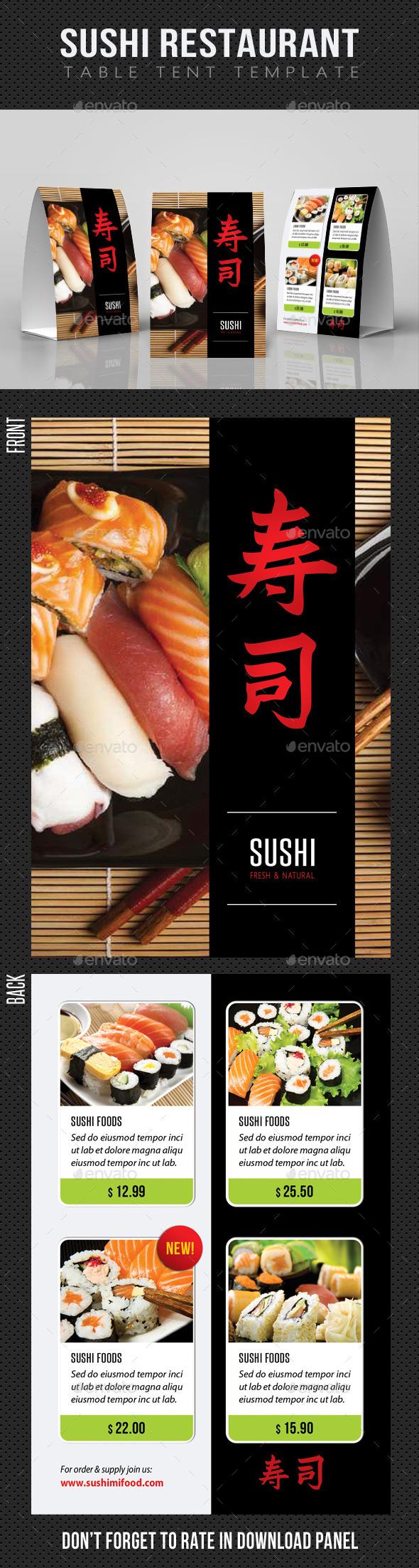 Sushi Restaurant Table Tent Template - Food Menus Print Templates
