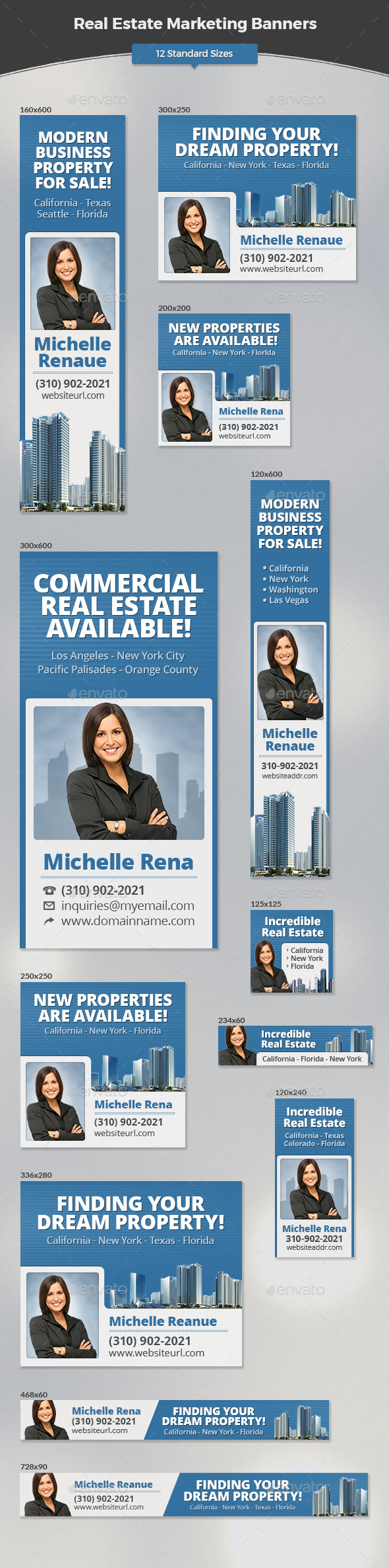 Real Estate Marketing Banners - Banners & Ads Web Elements
