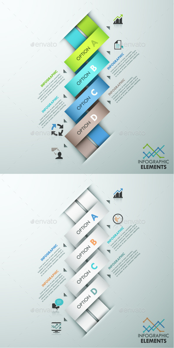 Modern Infographics Paper Template (2 Items) - Infographics
