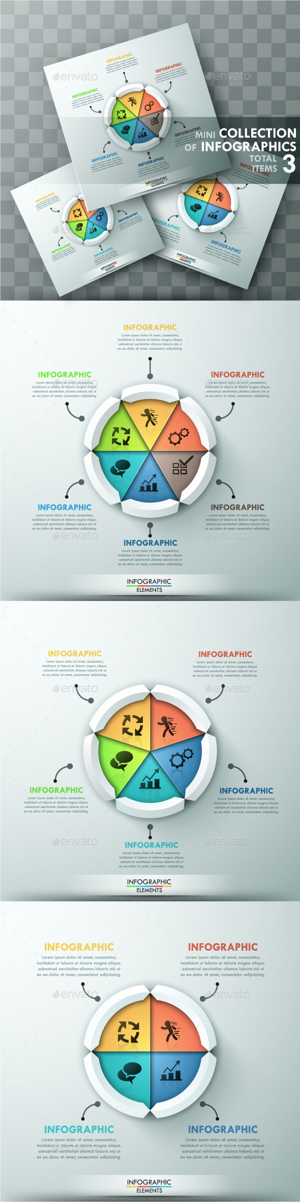 Modern Infographic Cycle Templates (3 Items) - Infographics