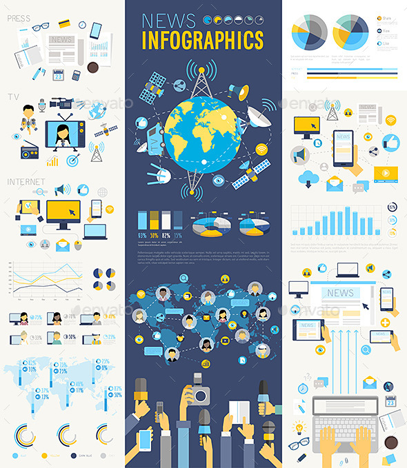 News Infographic Set - Communications Technology