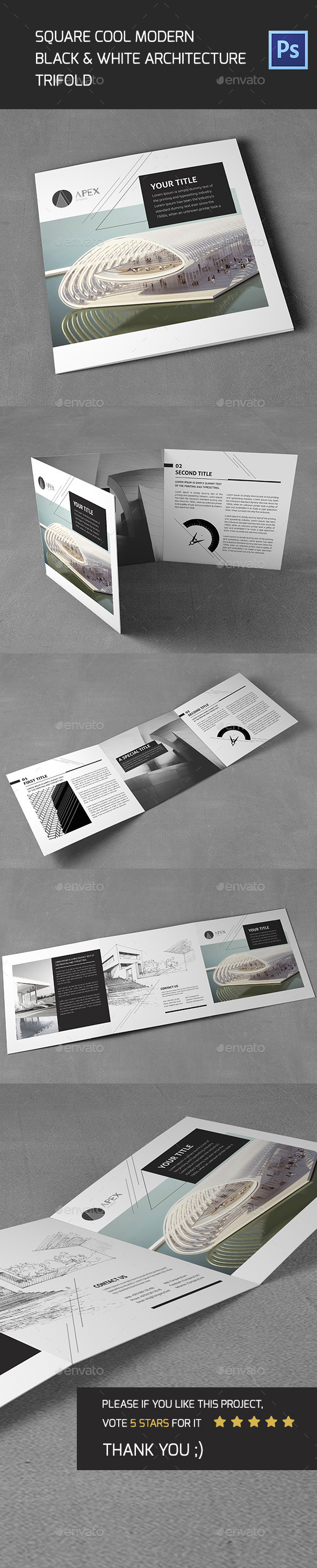 Square Cool Modern Architecture Trifold - Brochures Print Templates