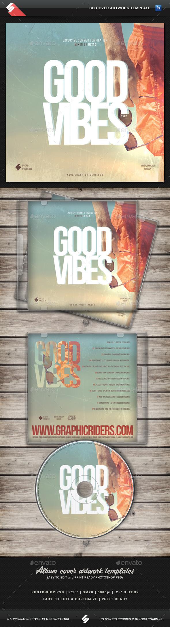 Good Vibes vol.2 - CD Cover Artwork Template - CD & DVD Artwork Print Templates