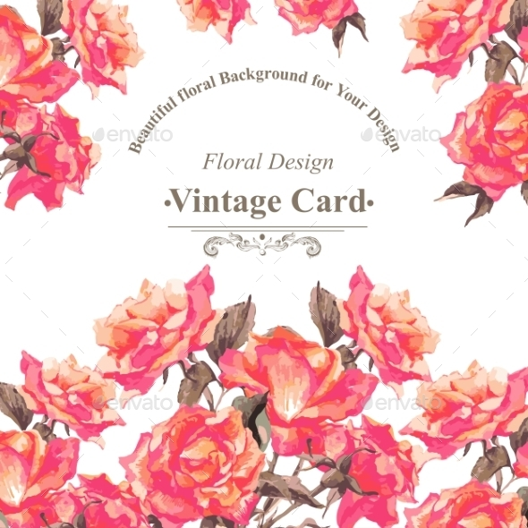 Vintage Watercolor Greeting Card With Blooming Red - Patterns Decorative