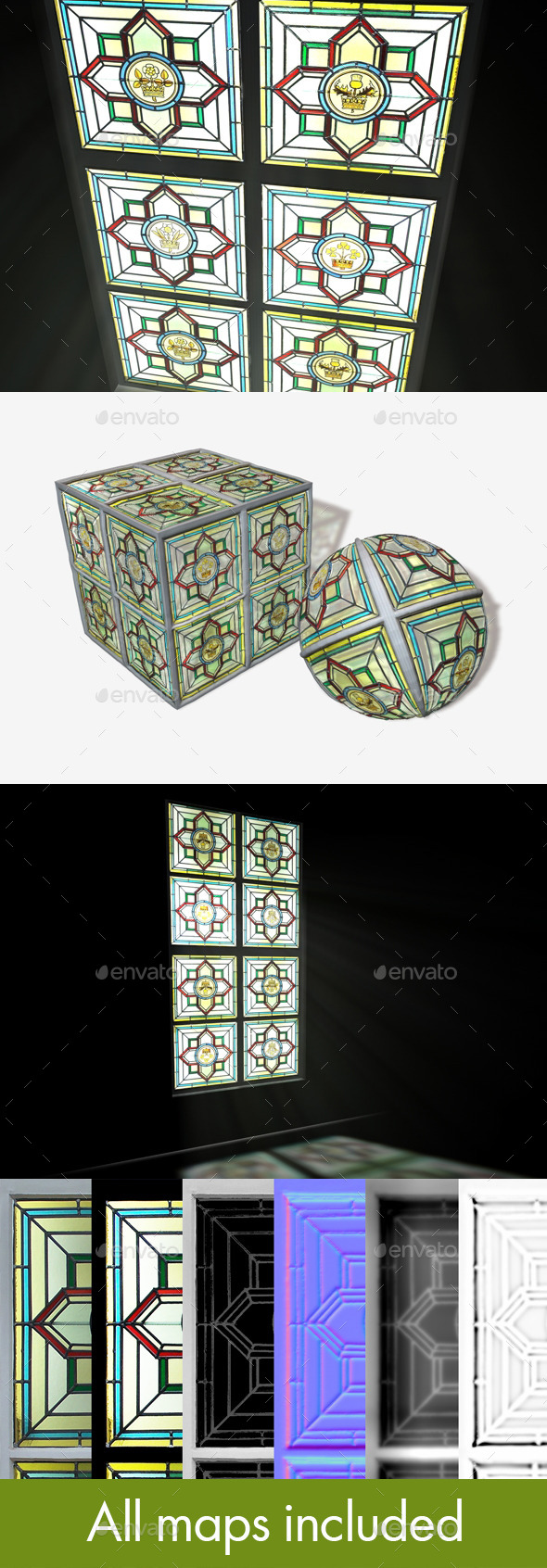British Stained Glass Window Seamless Texture - 3DOcean Item for Sale