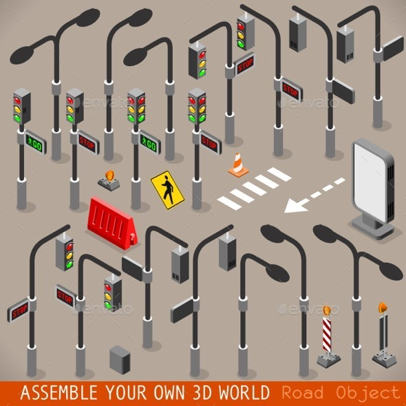 Urban Traffic Management Set Isometric - Objects Vectors