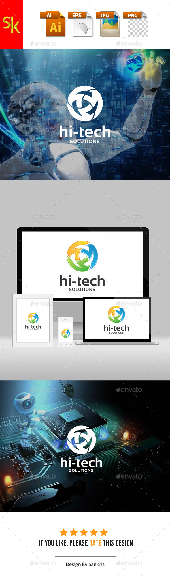 Hi Tech Solutions - Letters Logo Templates
