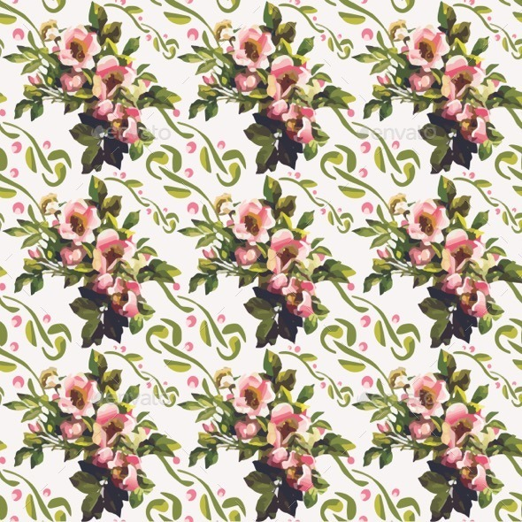 Wild Roses Floral Bouquet Pattern - Patterns Decorative
