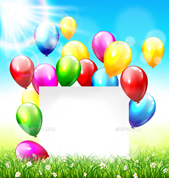 Celebration Background with Paper Frame Balloons - Miscellaneous Seasons/Holidays