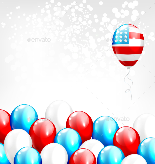 Balloons in National USA Colors on Gray Background - Miscellaneous Seasons/Holidays