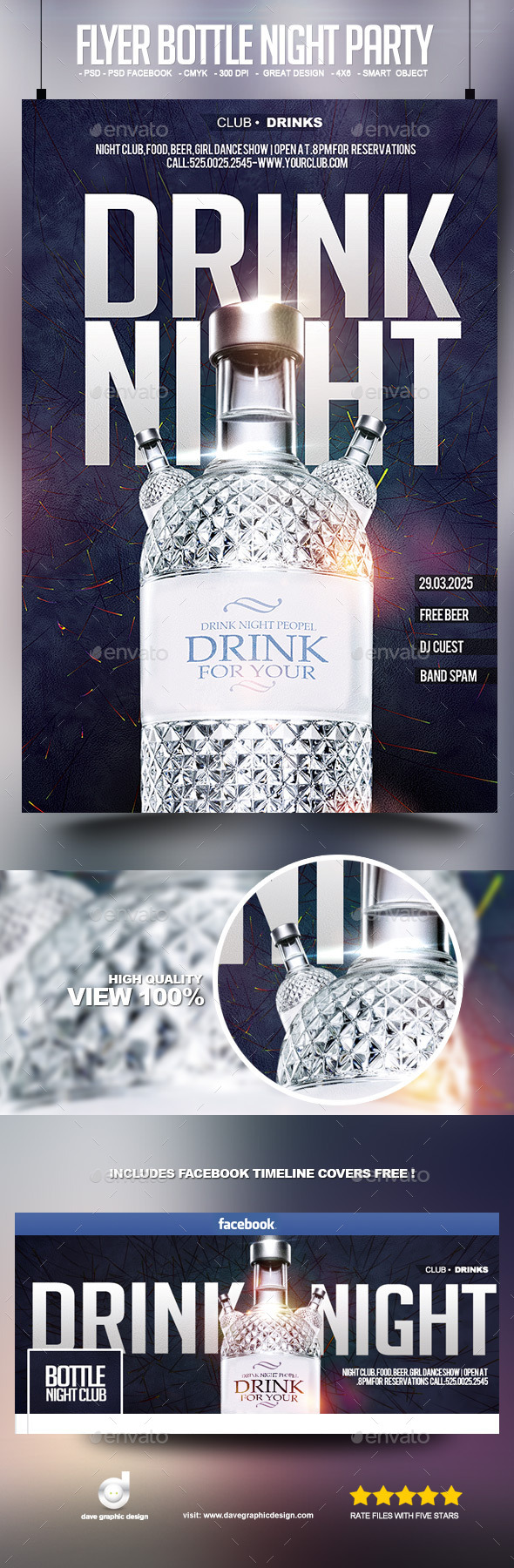 Flyer Bottle Night Party - Clubs & Parties Events