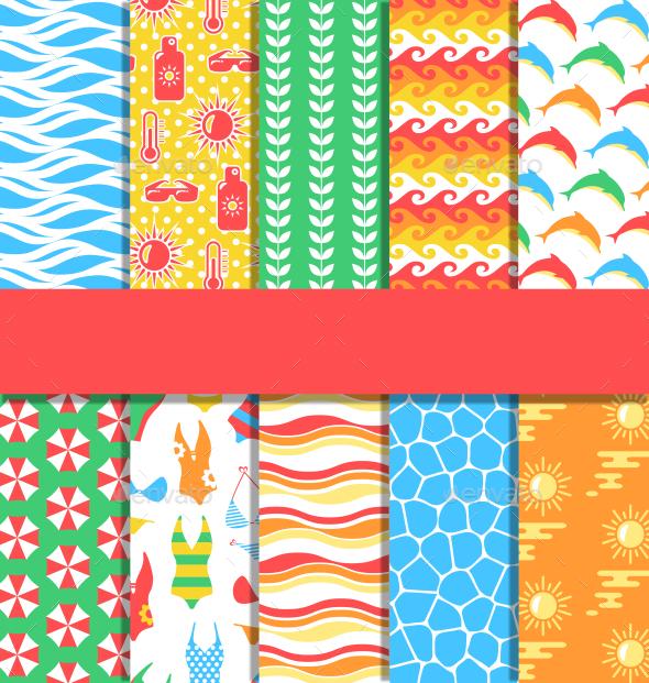 Set of Ten 10 Seamless Bright Fun Summer Patterns - Backgrounds Decorative