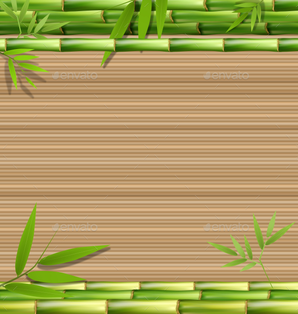 Green Bamboo Grass on Brown Background - Flowers & Plants Nature