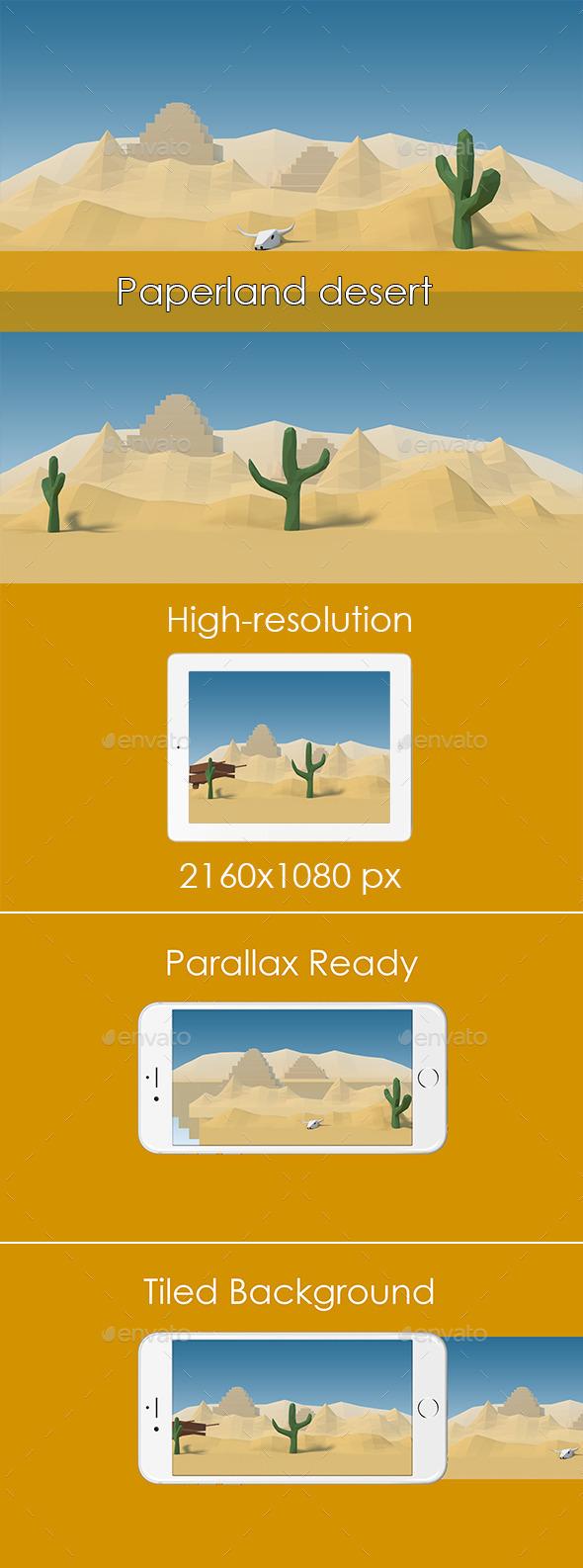 Paperland Desert Game Background - Backgrounds Game Assets