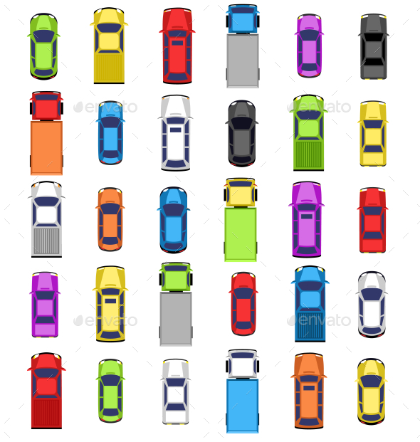 Multicolored Car Collection Isolated on White - Travel Conceptual
