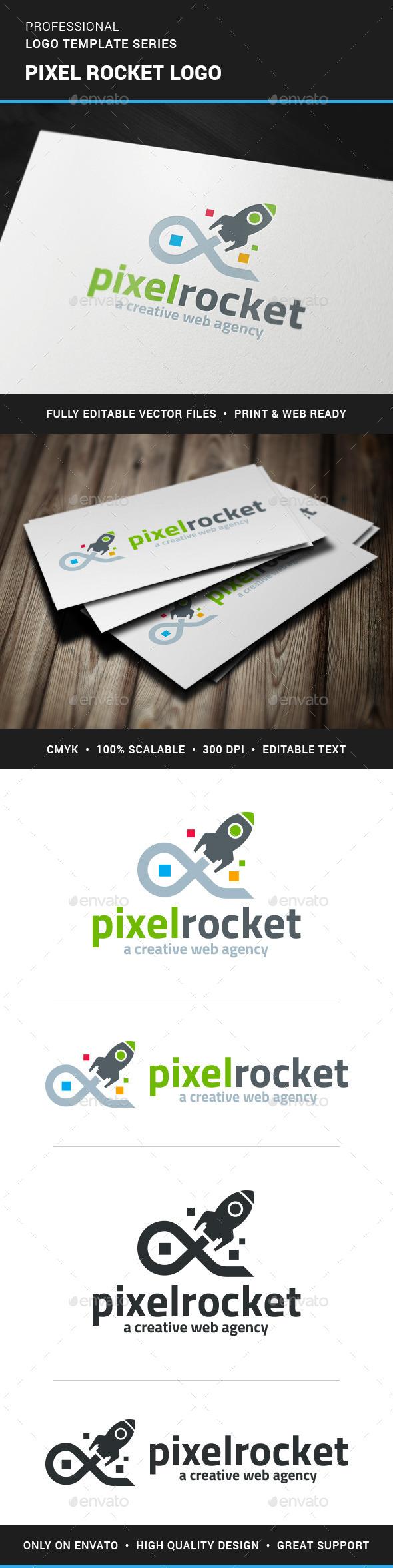 Pixel Rocket Logo Template - Objects Logo Templates