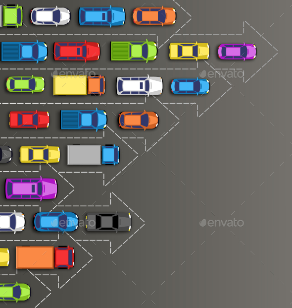 Road Background with Multicolored Cars Isolated - Travel Conceptual