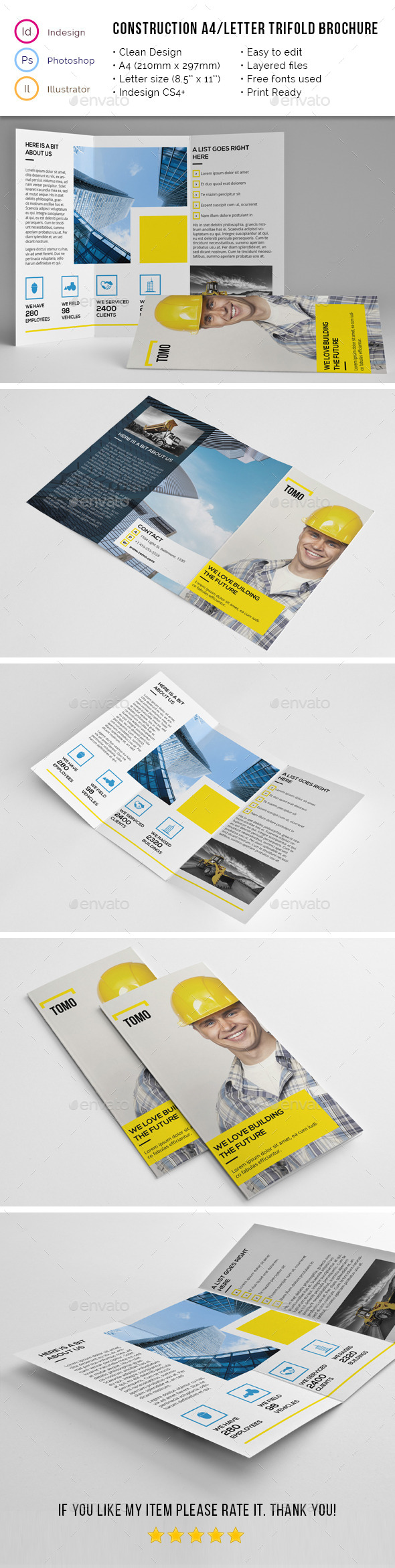 Construction Company A4 / Letter Trifold 02 - Corporate Brochures