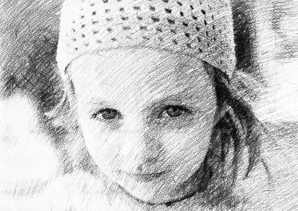 Pencil drawing mockup photo to sketch converter
