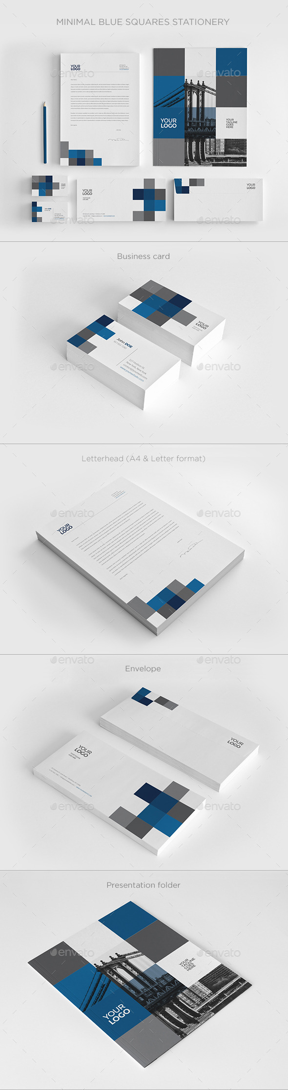 Minimal Blue Squares Stationery - Stationery Print Templates