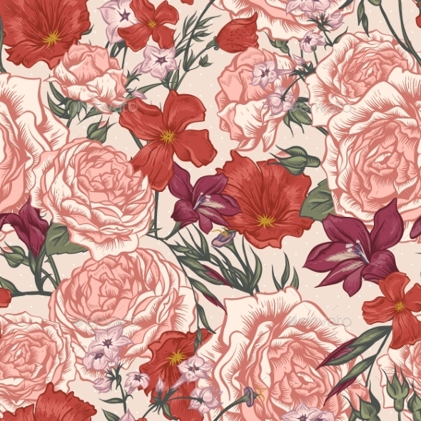 Beautiful Seamless Background With Victorian Roses - Patterns Decorative