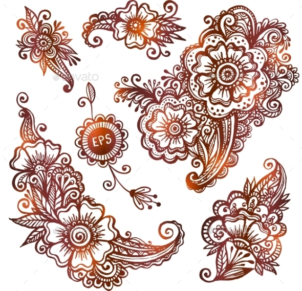 Hand-drawn Ornaments Set In Indian Mehndi Style - Patterns Decorative