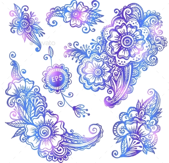 Blue Hand-drawn Vector Flowers Set - Flowers & Plants Nature