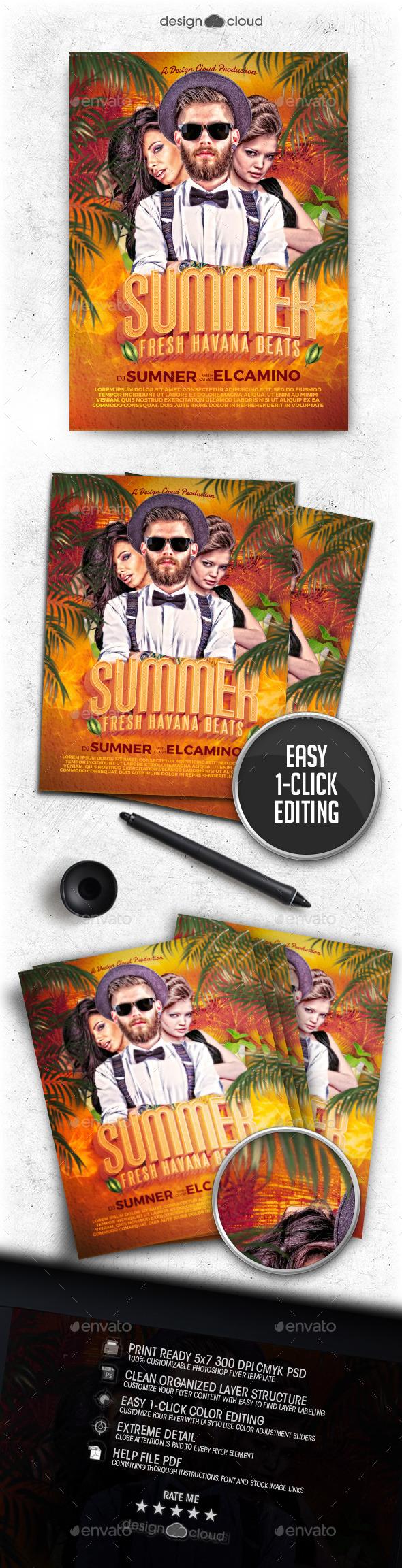 Summer DJ - Fresh Havana Beats Flyer Template - Clubs & Parties Events