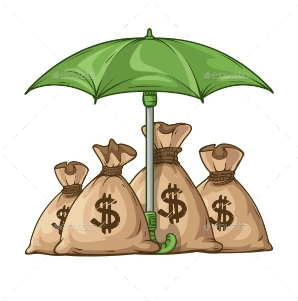 Umbrella Protecting Sacks with Money Currency Euro - Retail Commercial / Shopping
