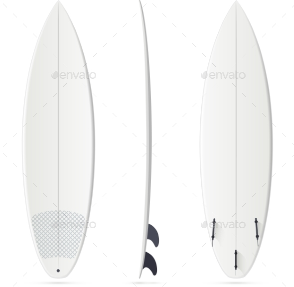 White Vector Surfing Board Template - Shortboard - Sports/Activity Conceptual