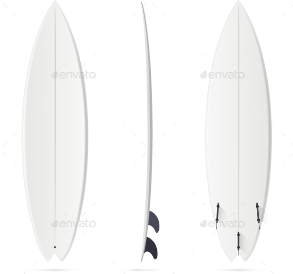 White Vector Surfing Board Template - Hybrid - Backgrounds Decorative