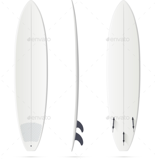 White Surfing Board Template - Mini-malibu - Backgrounds Decorative