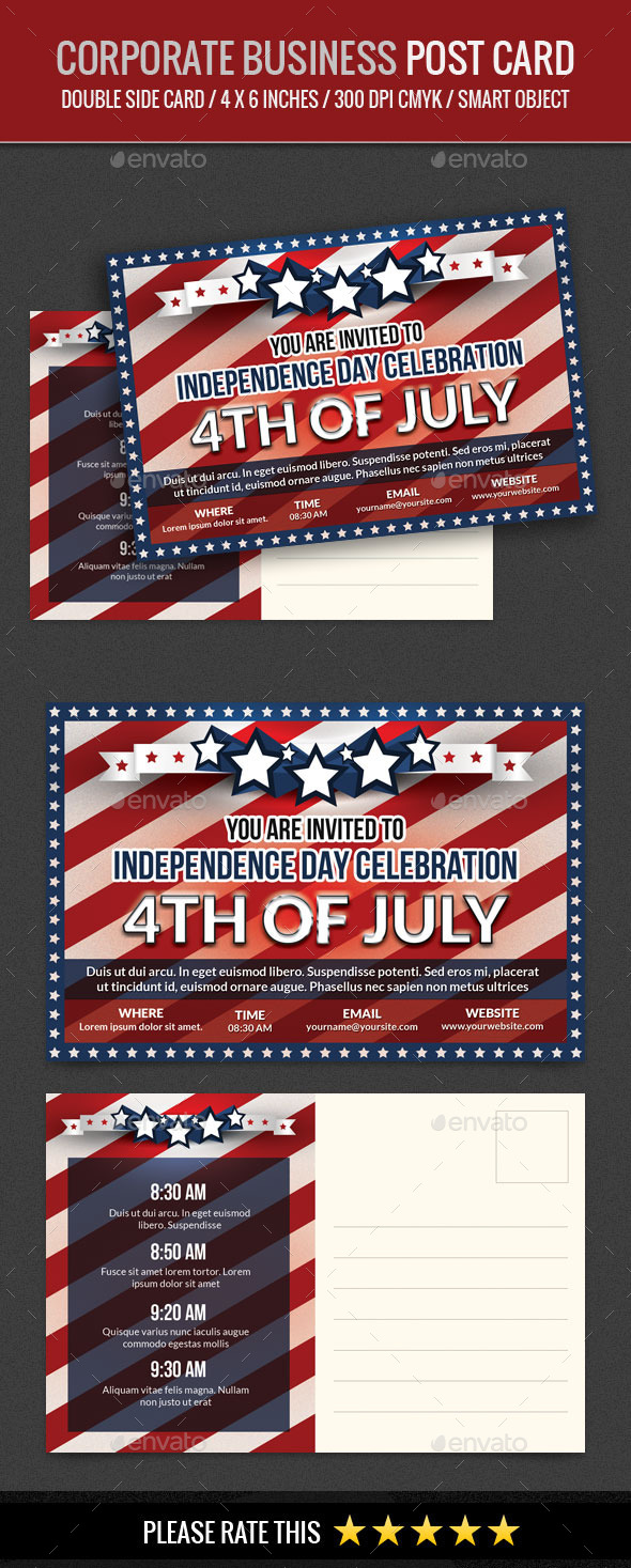 USA Independence Day 4th of July Post Card - Cards & Invites Print Templates