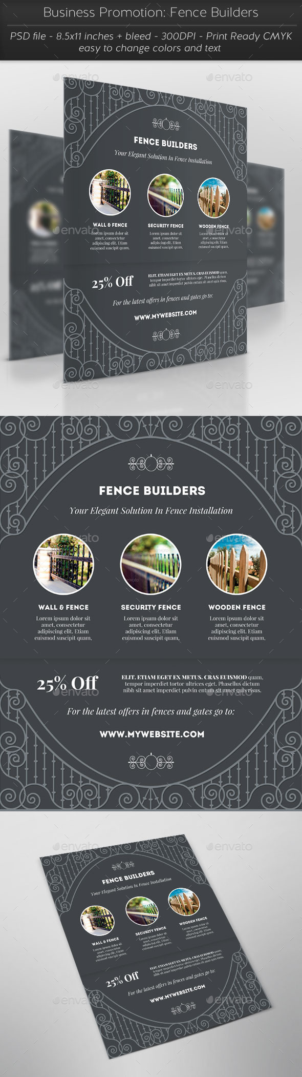Business Promotion: Fence Builders - Flyers Print Templates