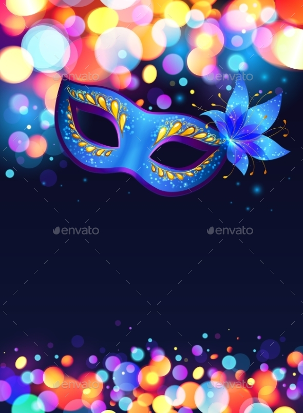 Blue Carnival Mask Vector Poster Background - Halloween Seasons/Holidays