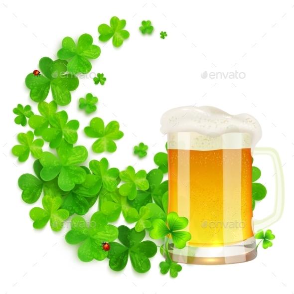 Mug Of Light Beer On Green Clovers Swirl - Decorative Symbols Decorative