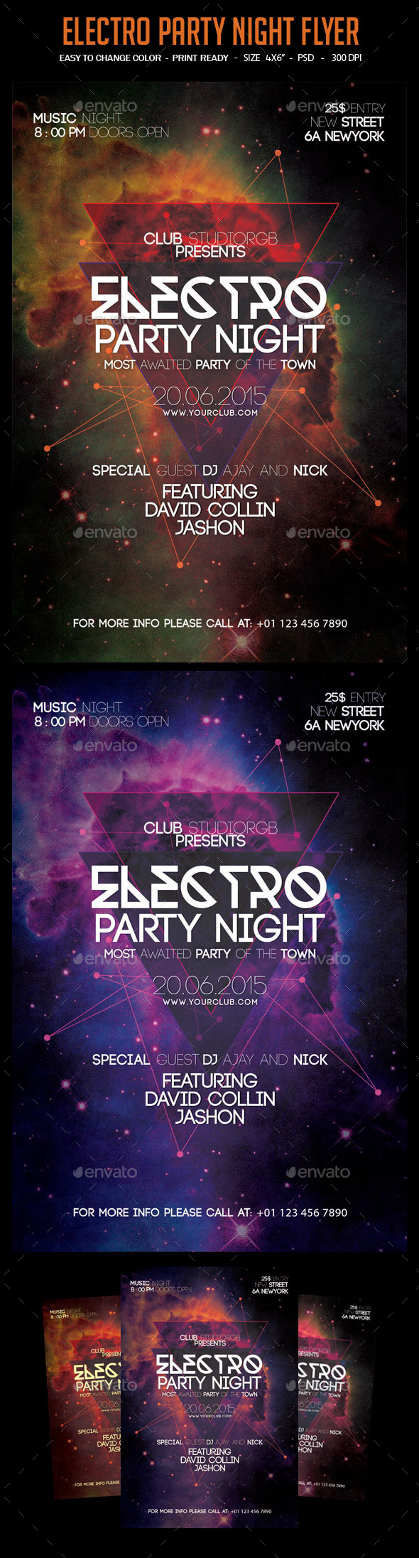 Electro Party Night Flyer - Clubs & Parties Events