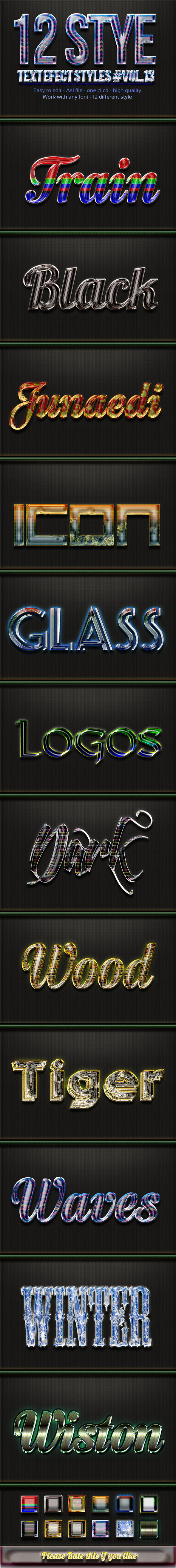 12 Photoshop Text Effect Styles Vol 13 - Text Effects Styles