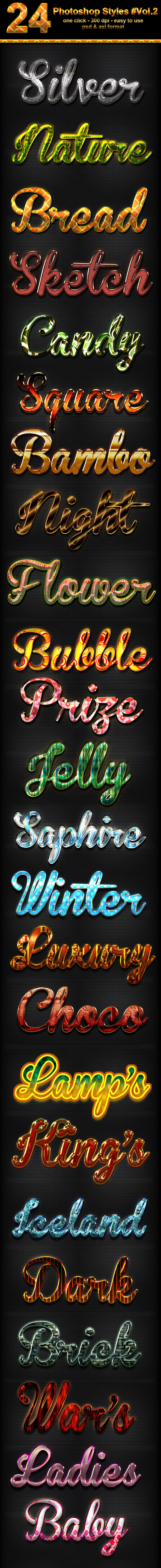 24 Photoshop Text Effect Styles Vol 2 - Text Effects Styles