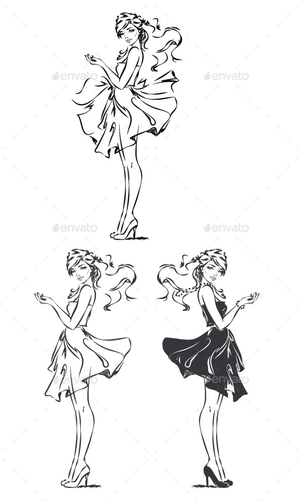Girl in Dress - People Characters