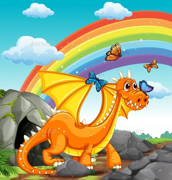Dragon and Rainbow  - Animals Characters