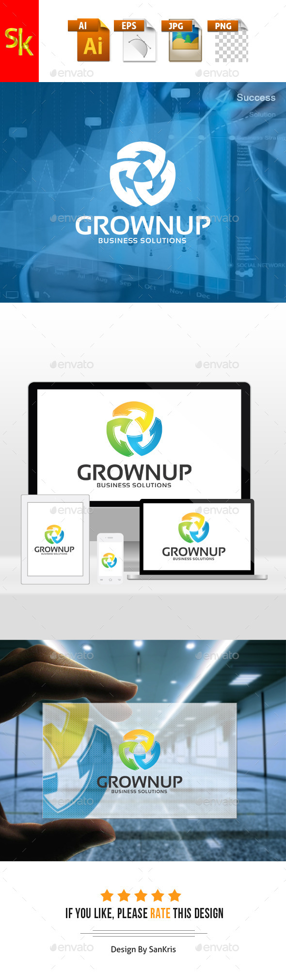 Grownup Business Solutions - Letters Logo Templates