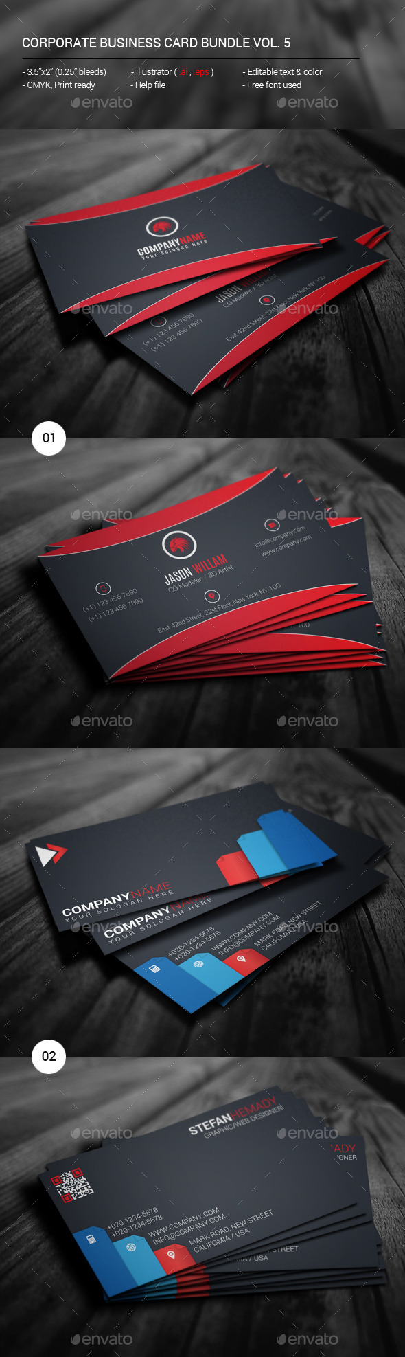 Corporate Business Card Bundle Vol. 5 - Corporate Business Cards