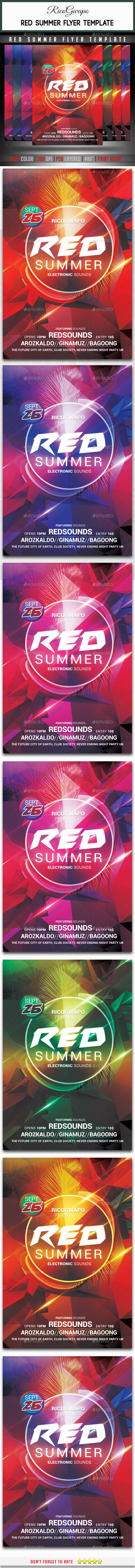 Red Summer Flyer Template - Clubs & Parties Events