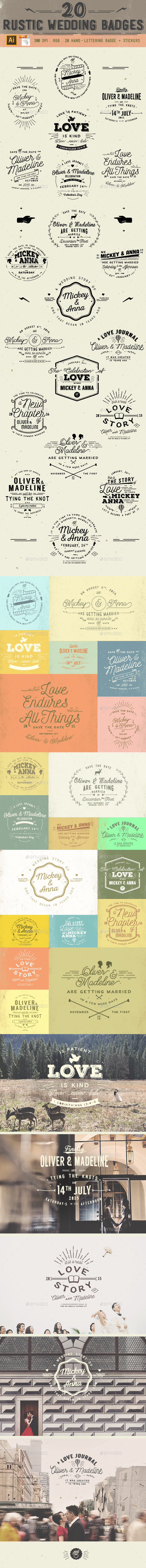 20 Rustic Wedding Badge - Badges & Stickers Web Elements