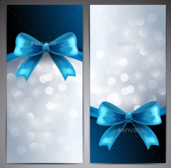 Collection of Gift Cards with Ribbon - Backgrounds Decorative