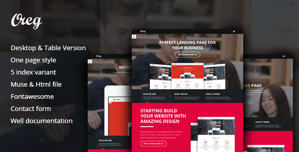 Oreg – Modern and Multi-purpose Landing Page Muse Template