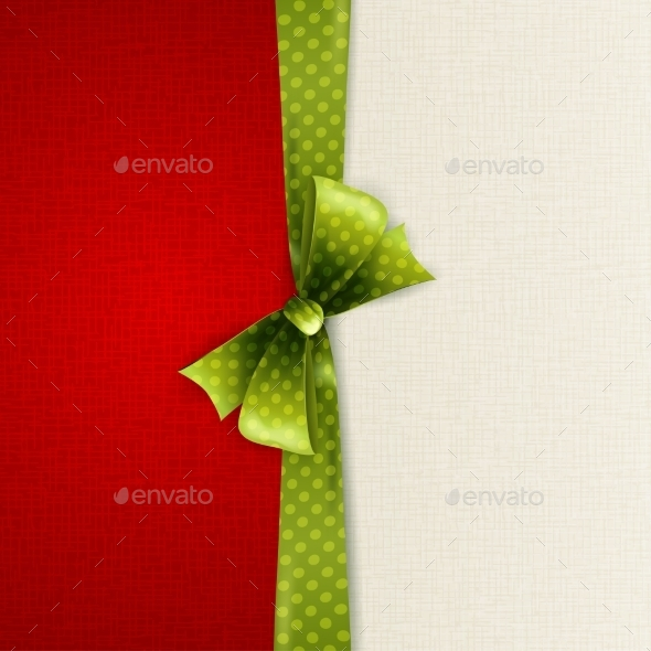 Holiday Background with Green Polka Dots Bow - Christmas Seasons/Holidays